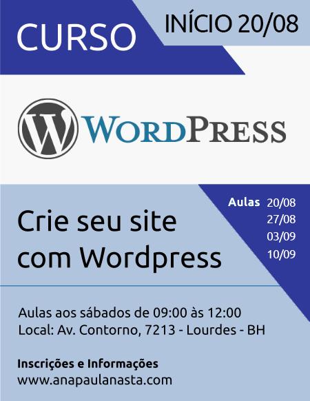Curso de Wordpress em BH - Agosto 2016